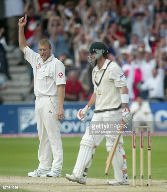 Cricket: 4th test 2005 England v Australia at Trent Bridge ANDREW FLINTOFF CELEBRATES TAKING THE WICKET OF DAMIEN MARTYN