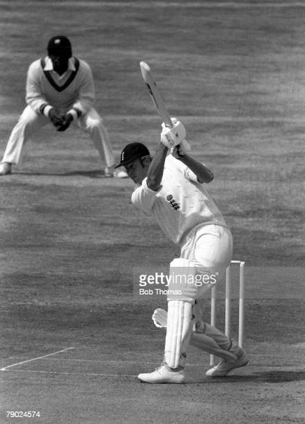 Cricket 4th Test Match, Headingley, Yorkshire, England v West Indies, West Indies won by 55 runs, A picture of England+s Tony Greig hitting a drive...