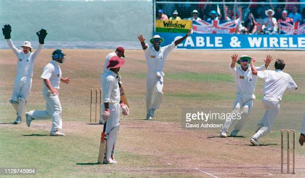 Cricket 4th Test West Indies v England at the Kensington Oval, Bridgetown, Barbados April 1994. Phil Tufnell takes the last West Indies wicket to win...