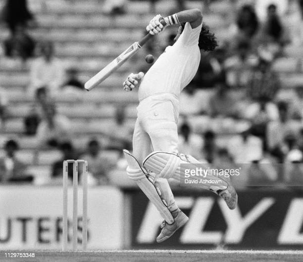 Cricket 5th Test England v Pakistan at the Oval 8th August 1987. Ian Botham jumps and is hit on the chest by a ball bowled by Wasim Akram.