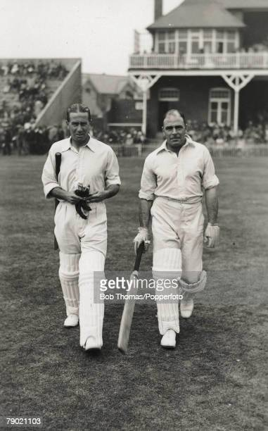 Cricket A picture of JWHT Douglas the Essex and England righthanded batsman and rightarm medium fast bowler with VWC Jupp the Sussex Northamptonshire...