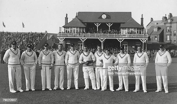 Cricket A picture of the New Zealand Cricket side on their first visit to England for a Test series LR TC Lowry ML Page JE Mills AM Matheson RO...