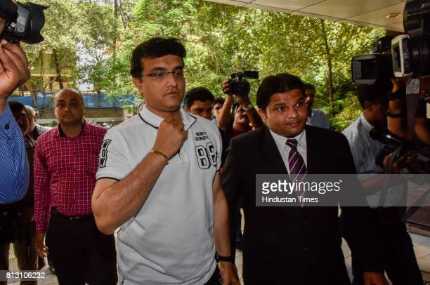 Cricket Advisory Committee Chief Sourav Ganguly arrives for a press conference for Indian cricket team coach at BCCI headquarters on July 10 2017 in...