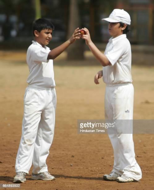 Cricket Arjun Sachin Tendulkar and Agni Vidhu Vinod Chopra in action during the match between MIG vs Achrekar XI at 15 Indian Gymkhana invitation...