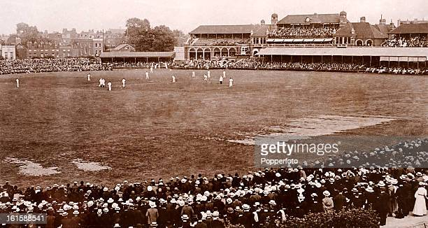 Cricket at the Kennington Oval in London, circa 1900.