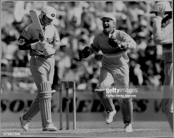 Cricket at the SCGAustralia V New ZealandM Waugh catches M Crowe off P Taylor Prized victim wicketkeeper Ian Healy dances in delight as New Zealand...