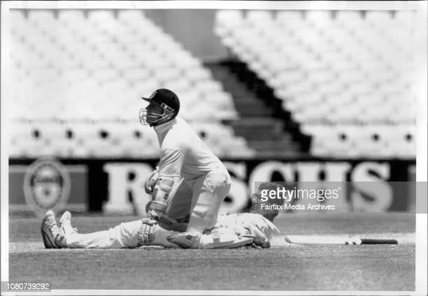 Cricket at the SCGNSW Vs QueenslandBowler amp batsman CollideQueensland hero Steve Storey and NSW opener Michael Siaster look to the umpire after...