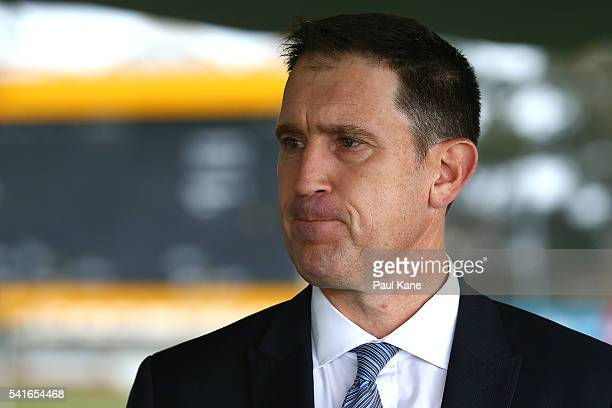 Cricket Australia CEO James Sutherland addresses the media at the WACA ground following a tour of the new Perth Stadium on June 20 2016 in Perth...