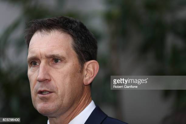 Cricket Australia CEO James Sutherland addresses the media on July 27 2017 in Melbourne Australia More than 200 cricket players are currently...