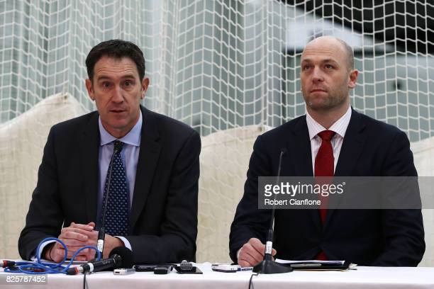 Cricket Australia CEO James Sutherland and Australian Cricketers' Association CEO Alistair Nicholson speak to the media during a press conference at...