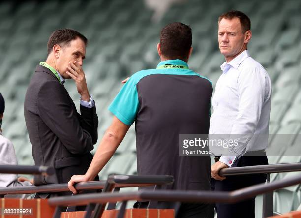 Cricket Australia CEO James Sutherland and Australian High Performance Manager Pat Howard speak during an Australian nets session at Adelaide Oval on...