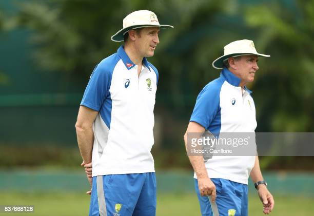 Cricket Australia CEO James Sutherland and Chairman of Selectors Trevor Hohns look on during an Australian Test team nets session at SherE Bangla...