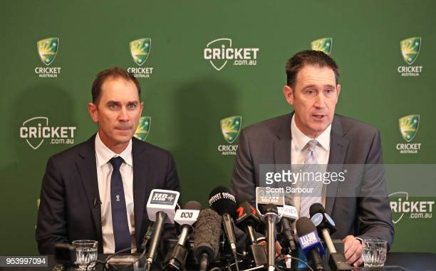 Cricket Australia CEO James Sutherland and Justin Langer coach of Australia speak to the media during a press conference on May 3 2018 in Melbourne...