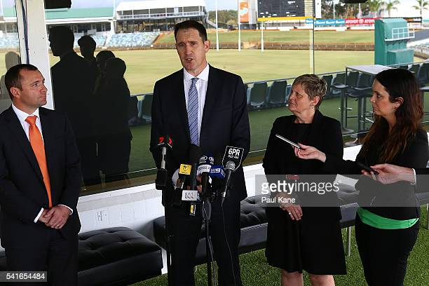 Cricket Australia CEO James Sutherland and WACA CEO Christina Matthews address the media at the WACA following a tour of the new Perth Stadium on...