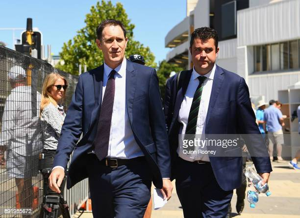 Cricket Australia CEO James Sutherland arrives to speak to the media during press conference at WACA on December 14 2017 in Perth Australia