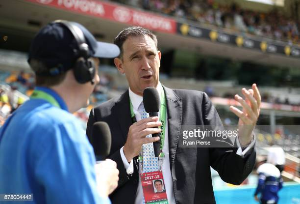 Cricket Australia CEO James Sutherland is interviewed during day two of the First Test Match of the 2017/18 Ashes Series between Australia and...