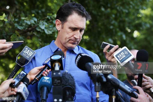 Cricket Australia CEO James Sutherland looks emotional as he pauses while speaking to the media during a press conference at Melbourne Cricket Ground...