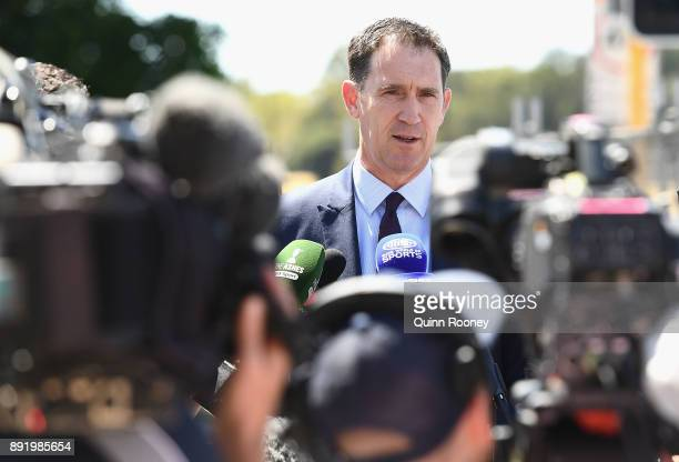 Cricket Australia CEO James Sutherland speaks to the media during press conference at WACA on December 14 2017 in Perth Australia