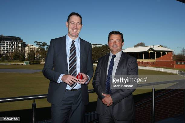 Cricket Australia chief executive James Sutherland and Cricket Australia chairman David Peever pose during a Cricket Australia announcement at the...