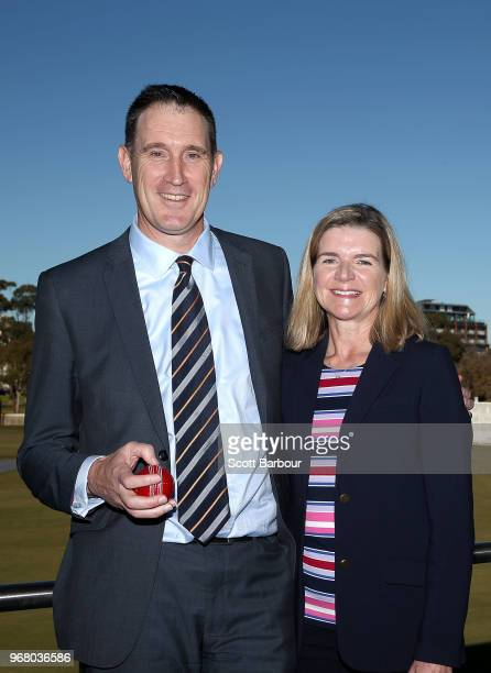 Cricket Australia chief executive James Sutherland and his wife Heidi Sutherland pose during a Cricket Australia announcement at the Victorian...