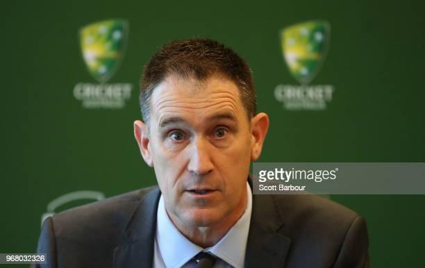 Cricket Australia chief executive James Sutherland speaks during a Cricket Australia announcement at the Victorian Cricket and Community Centre on...