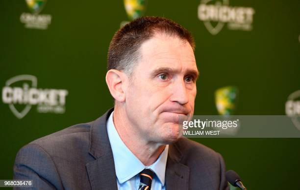 Cricket Australia chief James Sutherland speaks during a press conference in Melbourne on June 6 where he announced he will stand down in the wake of...