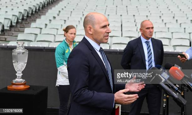 Cricket Australia Interim CEO Nick Hockley speaks during a press conference after the announcement of upcoming men's and women's Ashes series against...