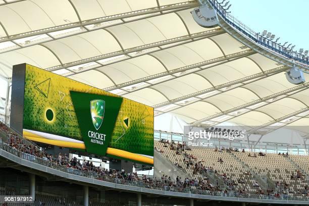 Cricket Australia signage is displayed on the large screens at Optus Stadium on January 21 2018 in Perth Australia The 60000 seat multipurpose...
