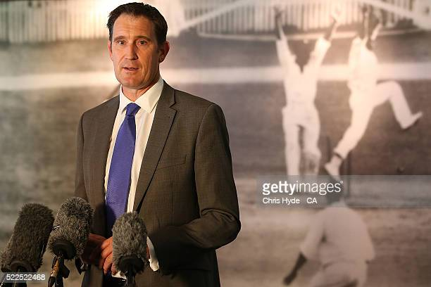 Cricket Australia CEO James Sutherland speaks to media during a Cricket Australia media opportunity at the Gabba on April 20 2016 in Brisbane...