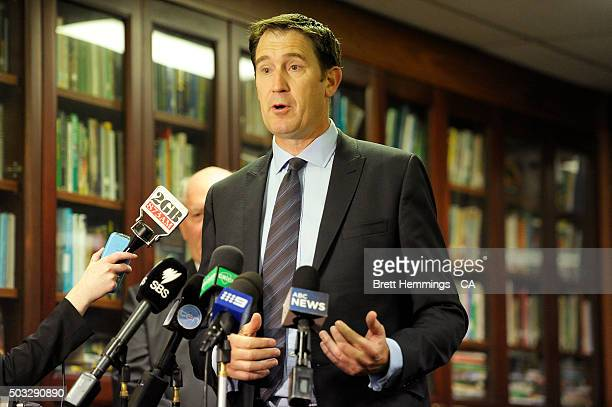 Cricket Australia Chief Executive Officer James Sutherland speaks to the media during a Cricket Australia media annoucement on day two of the third...