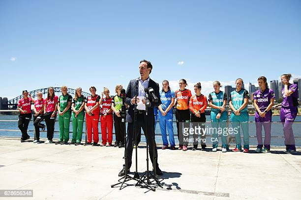 Cricket Australia Head of the Big Bash League Anthony Everard speaks during the Women's Big Bash League 2016/17 Season launch at Goat Island on...