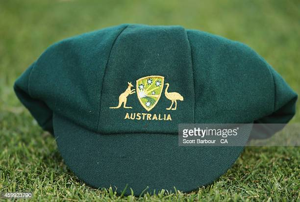 Cricket Australia XI cap sits on the field during the international tour match between the Cricket Australia XI and India at Gliderol Stadium on...