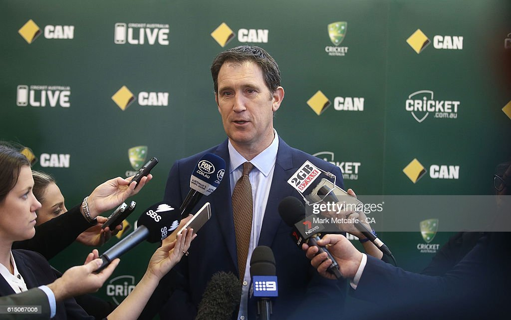 Cricket Australia's CEO, James Sutherland talks to the media during a Cricket Australia Commonwealth Bank Sponsorship Media Announcement at Sydney Cricket Ground on October 17, 2016 in Sydney, Australia.