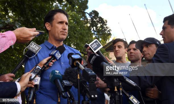 Cricket Australia's CEO James Sutherland speaks to a packed media conference in Melbourne on March 25 after addressing the issue of Australia's ball...