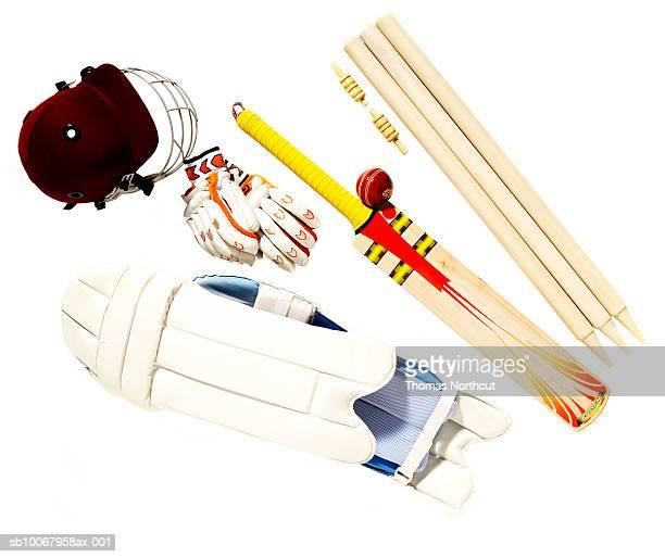 Cricket ball, bat, helmet, thigh pads, gloves, stump and wicket