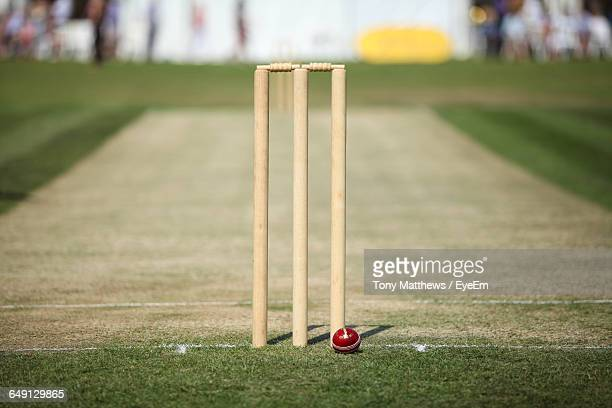 cricket ball by stump on playing field - cricket pitch stock pictures, royalty-free photos & images