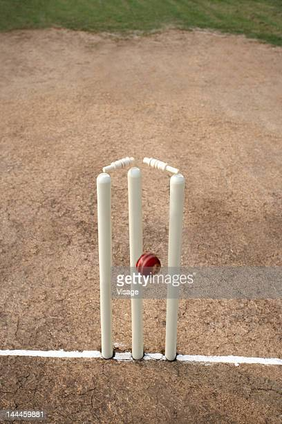cricket ball hitting cricket stumps, bails coming off - crease cricket field stock pictures, royalty-free photos & images