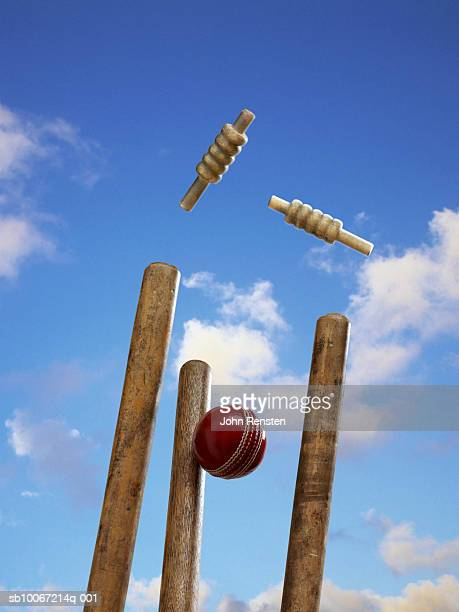 cricket ball hitting stump - wicket stock pictures, royalty-free photos & images