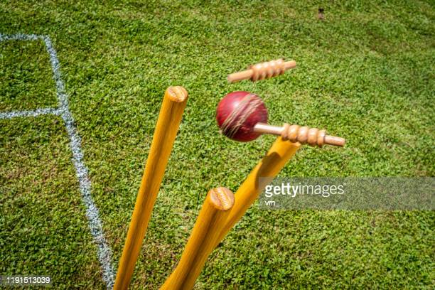 cricket ball hitting the stumps - cricket pitch stock pictures, royalty-free photos & images