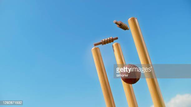 cricket ball hitting the stumps - wicket stock pictures, royalty-free photos & images