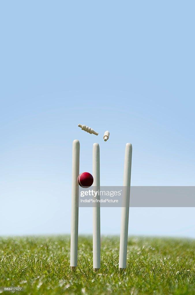 Cricket ball hitting the wicket : Stock Photo