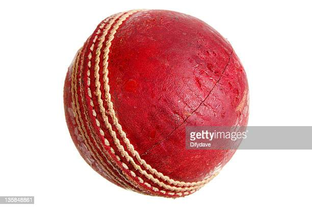 cricket ball isolated on white - cricket ball stock pictures, royalty-free photos & images