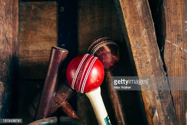 cricket ball on top of bat against wooden wall - cricket bat stock pictures, royalty-free photos & images