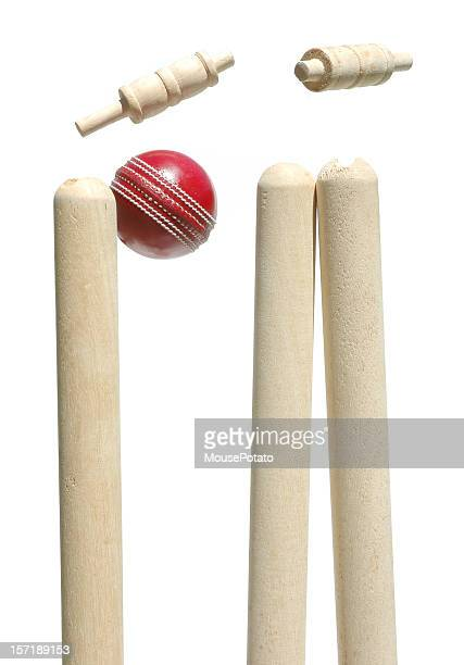 cricket ball smashing through the bails - cricket ball stock pictures, royalty-free photos & images
