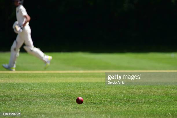 cricket ball with cricket batsman running - cricket stockfoto's en -beelden