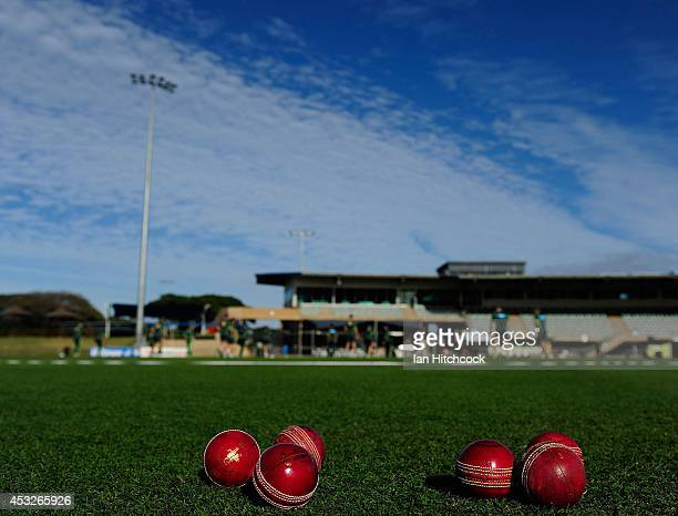 Cricket balls are seen laying on the field before the start of play during the match between Australia 'A' and South Africa 'A' at Tony Ireland...