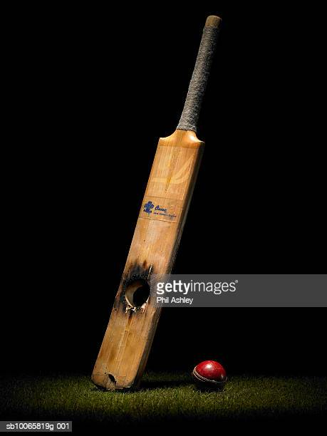 cricket bat with hole and ball - cricket ball stock pictures, royalty-free photos & images