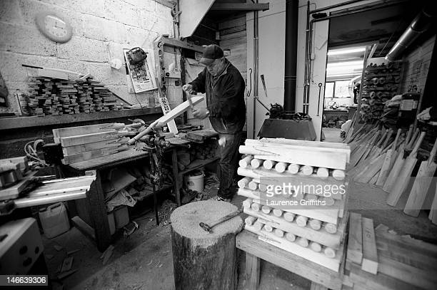 Cricket bats are hand crafted at the Warsop Stebbing factory on June 23 in East Hanningfield, England.