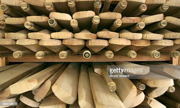 Cricket bats are seen waiting to be finished September 7 2005 in Huntingdon England Ashes fever continues to grip the country as England and...
