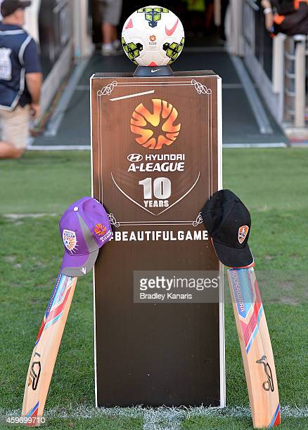Cricket bats from both teams are placed at the players entrance in memory of Australian cricket player Phillip Hughes during the round eight ALeague...